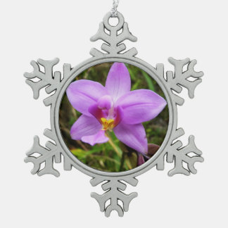 Wild Orchid Purple Tropical Flower Pewter Snowflake Decoration