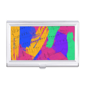 Wild Paint Brush Colors and Music Sheets Business Card Case