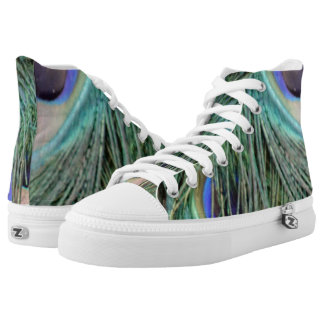 Wild Peacock Feathers Green And Blue High Tops