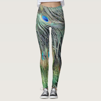 Wild Peacock Feathers Leggings