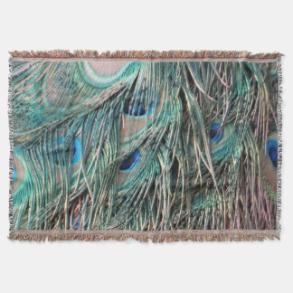 Wild Peafowl Feather Eyes Throw Blanket