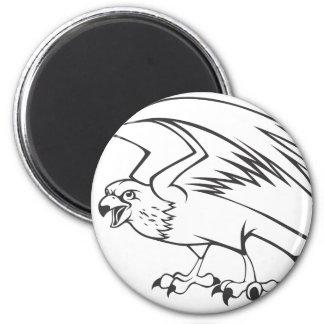 Wild Peregrine Falcon Bird in Black and White 6 Cm Round Magnet