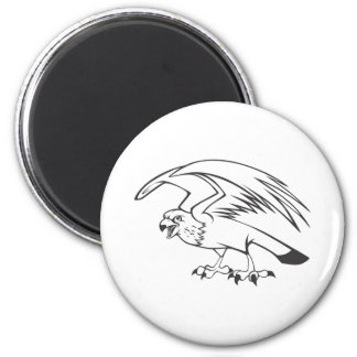 Wild Peregrine Falcon Bird in Black and White Magnets