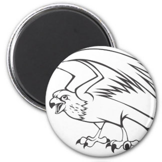 Wild Peregrine Falcon Bird in Black and White 6 Cm Round Magnet