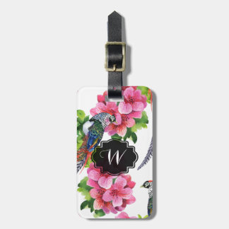 Wild pheasant birds watercolor pink flowers luggage tag