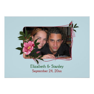 Wild pink rose floral wedding photo poster
