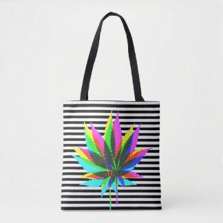 Wild Plant Leafs - neon colored & black stripes Tote Bag