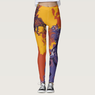Wild Print Fire Bird & Night Horse Leggings