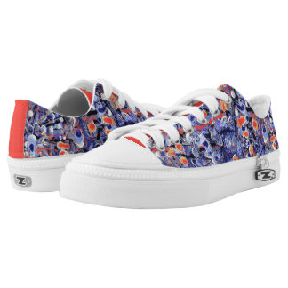Wild Purple and Orange Abstract Low Tops
