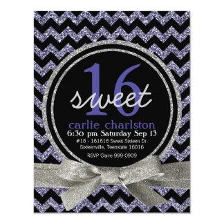 Wild Purple Glitter Look Chevron Sweet 16 Party 4.25x5.5 Paper Invitation Card