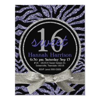 Wild Purple Glitter Look Zebra Sweet 16 Party 11 Cm X 14 Cm Invitation Card