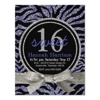 Wild Purple Glitter Look Zebra Sweet 16 Party 4.25x5.5 Paper Invitation Card