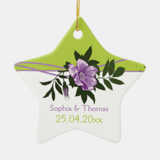 Wild purple rose floral wedding green keepsake ceramic star decoration