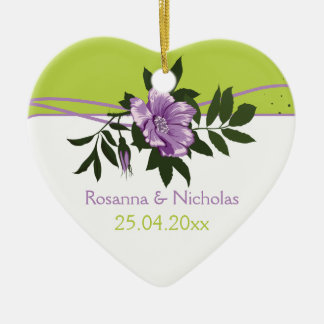 Wild purple rose floral wedding green keepsake christmas ornament