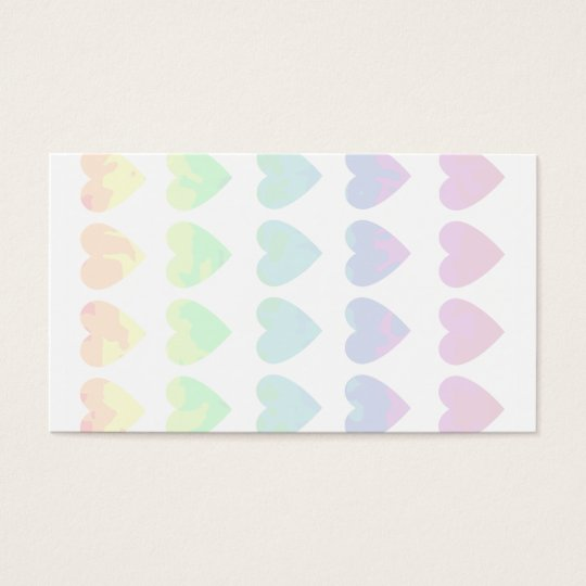 Wild rainbow hearts on white blank business cards