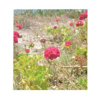 Wild Red Geraniums Notepad