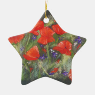 Wild red poppies display ceramic star decoration