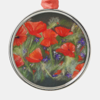 Wild red poppies display christmas ornament