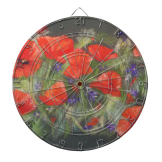 Wild red poppies display dartboard with darts