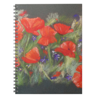 Wild red poppies display notebook