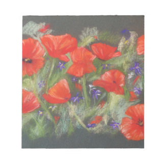 Wild red poppies display notepad