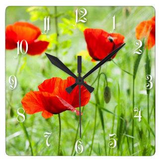 Wild red poppy flower wall clocks