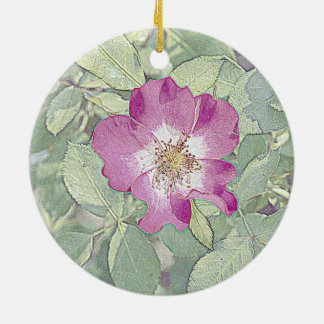Wild red rose christmas ornaments