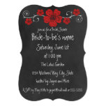 "Wild Red Roses Chalkboard Bridal Shower Invitation 5"" X 7"" Invitation Card"