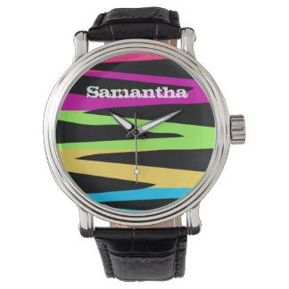Wild Retro Rainbow Colors Zebra Stripes Wrist Watches