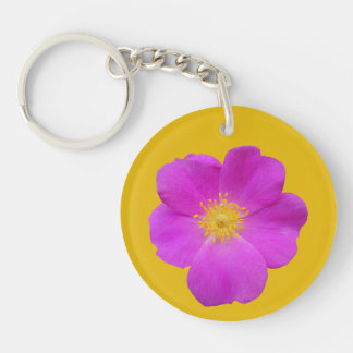 Wild Rose 2 Double-Sided Round Acrylic Key Ring