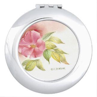 Wild rose compact mirror .