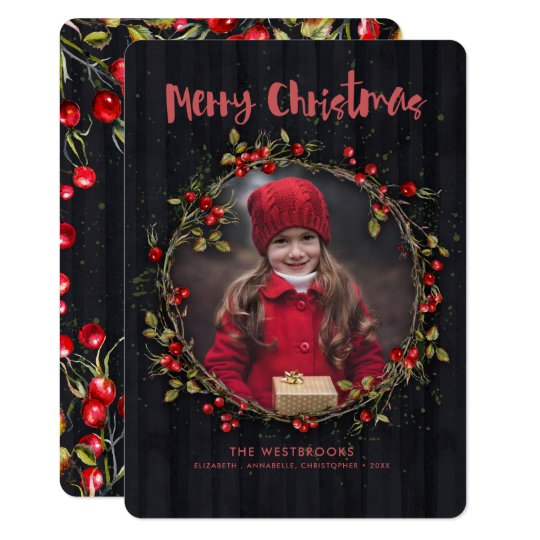Wild Rose Fruits Christmas Wreath Holiday Photo Card
