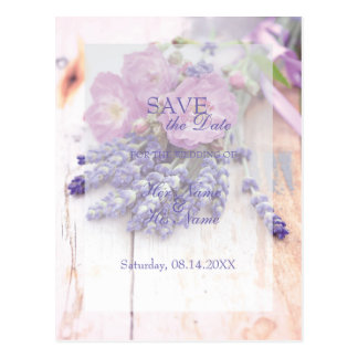Wild Rose & Lavender Summer Flower SAVE the Date Postcard
