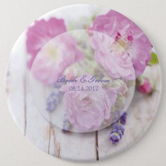 Wild Rose & Lavender Summer Flower Wedding 6 Cm Round Badge