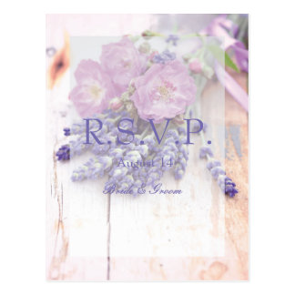 Wild Rose & Lavender Summer Flower Wedding RSVP Postcard
