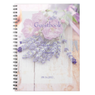 Wild Rose & Lavender Summer Wedding  guest book
