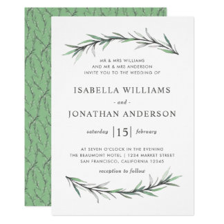 Wild Rosemary Botanical Wedding Invitation