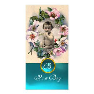 WILD ROSES AND AQUA BLUE GEM MONOGRAM PHOTO CARD TEMPLATE