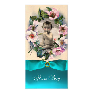 WILD ROSES AND BLUE RIBBON BABY SHOWER PERSONALIZED PHOTO CARD