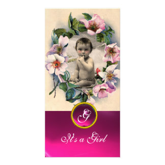 WILD ROSES AND PINK GEMSTONE  MONOGRAM PHOTO CARD TEMPLATE