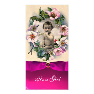 WILD ROSES AND PINK RIBBON BABY SHOWER PHOTO CARD TEMPLATE