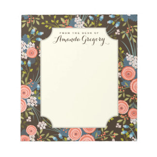 Wild Roses Floral Garden Personalized Notepad