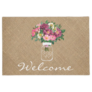 Wild Roses Mason Jar on Burlap Doormat
