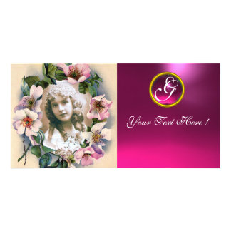 WILD ROSES WITH PINK FUCHSIA GEM STONE MONOGRAM CUSTOM PHOTO CARD
