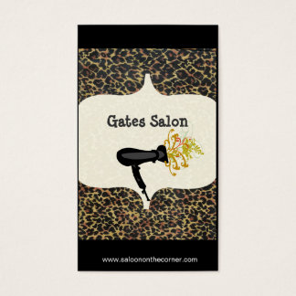 Wild Salon Spa Leopard Print  Hair Dryer  Salon Business Card