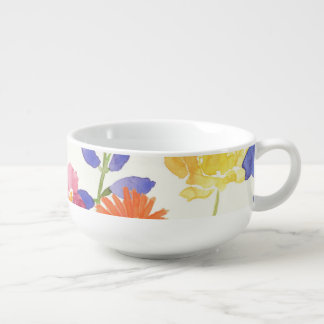 Wild Scottish Watercolour Floral Soup Mug Bowl