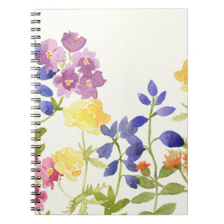 Wild Scottish Watercolour Flowers Spiral Notebook