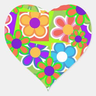 Wild Sixties Daisies Heart Sticker