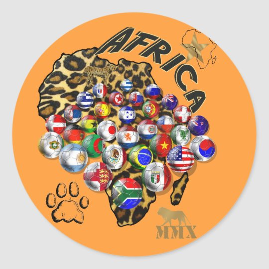 Wild Soccer Celebration Safari style futbol gifts Classic Round Sticker