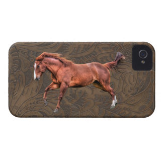 Wild Spirited Horse Tooled Leather-look Case iPhone 4 Cover